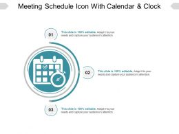 Meeting Schedule Icon With Calendar And Clock Ppt Example