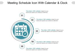 Meeting Schedule Icon With Calendar And Clock Ppt Examples