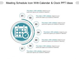 Meeting Schedule Icon With Calendar And Clock PPT Ideas