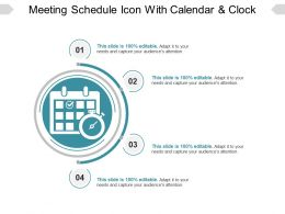 Meeting Schedule Icon With Calendar And Clock Sample Of Ppt