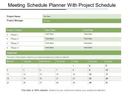 Meeting Schedule Planner With Project Schedule PPT Icon