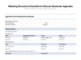 Meeting Structure Checklist To Discuss Business Agendas