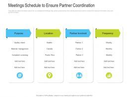 Meetings Schedule To Ensure Partner Coordination Slide Channel Vendor Marketing Management Ppt Ideas