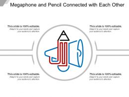 Megaphone And Pencil Connected With Each Other