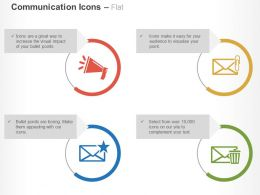 Megaphone Mails Attachment Rating And Trash Ppt Icons Graphics