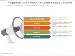 Megaphone With 5 Arrows For Communication Objectives Ppt Slide