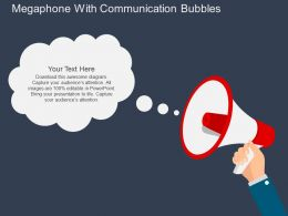 megaphone_with_communication_bubbles_flat_powerpoint_design_Slide01