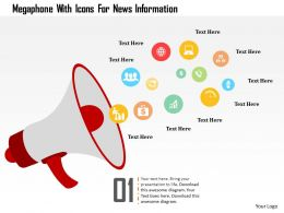 Megaphone With Icons For News Information Flat Powerpoint Design
