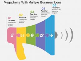Megaphone With Multiple Business Icons Flat Powerpoint Design