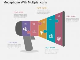 Megaphone With Multiple Icons Flat Powerpoint Design