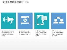 Megaphone Youtube Mobile Chat Social Network Ppt Icons Graphics