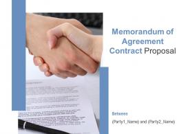 Memorandum Of Agreement Contract Proposal Powerpoint Presentation Slides