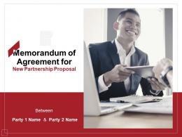 Memorandum Of Agreement For New Partnership Proposal Powerpoint Presentation Slides