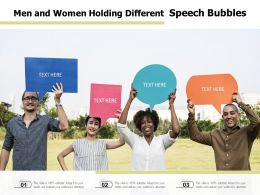 Men And Women Holding Different Speech Bubbles