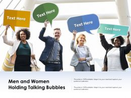 Men And Women Holding Talking Bubbles