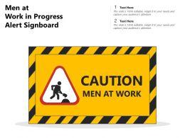 Men At Work In Progress Alert Signboard