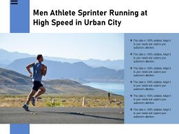 Men Athlete Sprinter Running At High Speed In Urban City