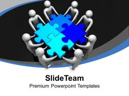 Men Holding Blue Puzzles Solution Teamwork Powerpoint Templates Ppt Themes And Graphics 0313