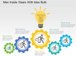 Men Inside Gears With Idea Bulb Flat Powerpoint Design