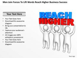 Men Join Forces To Lift Words Reach Higher Business Success Ppt Graphic Icon