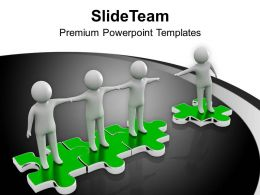 Men Joining Hands On Puzzle Interconnection Powerpoint Templates PPT Themes And Graphics 0213