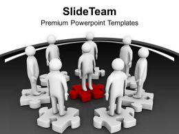 Men On Puzzle Circle Team Work PowerPoint Templates PPT Themes And Graphics 0213