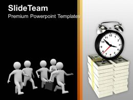 Men Running Towards Clock Money Powerpoint Templates Ppt Themes And Graphics 0213