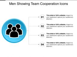 Men Showing Team Cooperation Icons Ppt Sample File