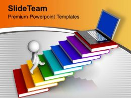 Men With Book And Laptop Education Powerpoint Templates PPT Themes And Graphics 0213