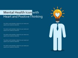 Mental Health Icon With Heart And Positive Thinking