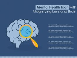 Mental Health Icon With Magnifying Lens And Brain