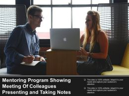 Mentoring Program Showing Meeting Of Colleagues Presenting And Taking Notes