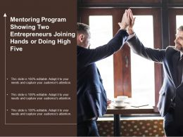 Mentoring Program Showing Two Entrepreneurs Joining Hands Or Doing High Five
