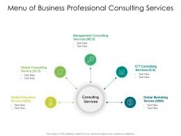 Menu Of Business Professional Consulting Services