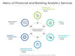 Menu Of Financial And Banking Analytics Services