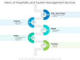 Menu Of Hospitality And Tourism Management Services