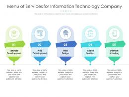 Menu Of Services For Information Technology Company