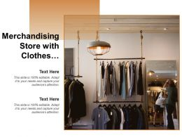 Merchandising Store With Clothes Hanging Mirror And Lights
