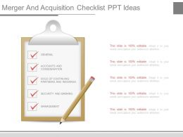 Merger And Acquisition Checklist Ppt Ideas