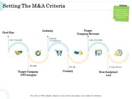 Merger And Acquisition Key Steps Setting The Manda Criteria Ppt Icon Diagrams