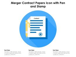 Merger Contract Papers Icon With Pen And Stamp