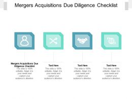 Mergers Acquisitions Due Diligence Checklist Ppt Powerpoint Presentation Infographics Deck Cpb