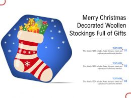 Merry Christmas Decorated Woollen Stockings Full Of Gifts