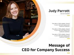 Message Of CEO For Company Success
