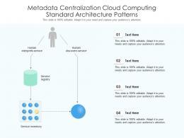 Metadata Centralization Cloud Computing Standard Architecture Patterns Ppt Powerpoint Slide