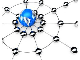 Metal Balls Connected With Globe Making Network Stock Photo