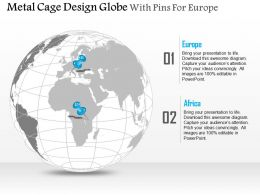 Metal Cage Design Globe With Pins For Europe And Africa Ppt Presentation Slides