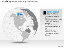 Metal Cage Design World Map Globe With Flag Ppt Presentation Slides