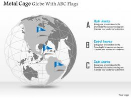 Metal Cage Globe With Abc Flags Ppt Presentation Slides