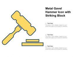 Metal Gavel Hammer Icon With Striking Block